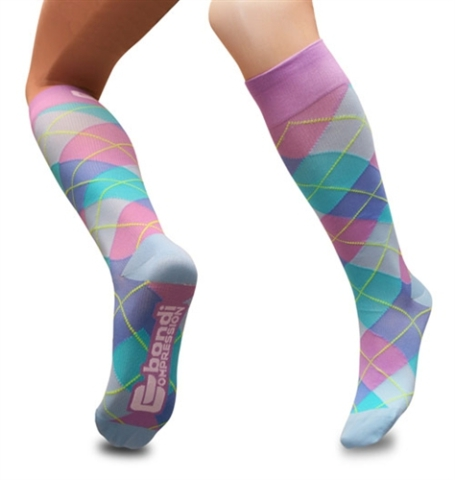 Bondi Band Purple and Blue Argyle Compression Socks: image via bondiband.com