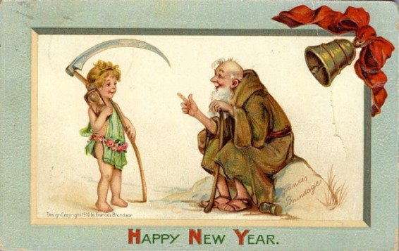 Baby New Year and Father Time (Public Domain Image)