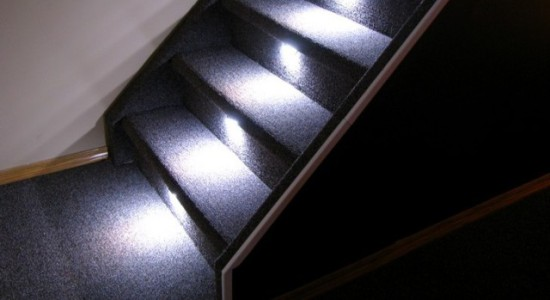 One of Model 2000&#039;s several stair lighting effects:  Reactive Lighting
