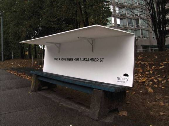 Bus Bench Shelter for the Homeless (Image via The Independent)