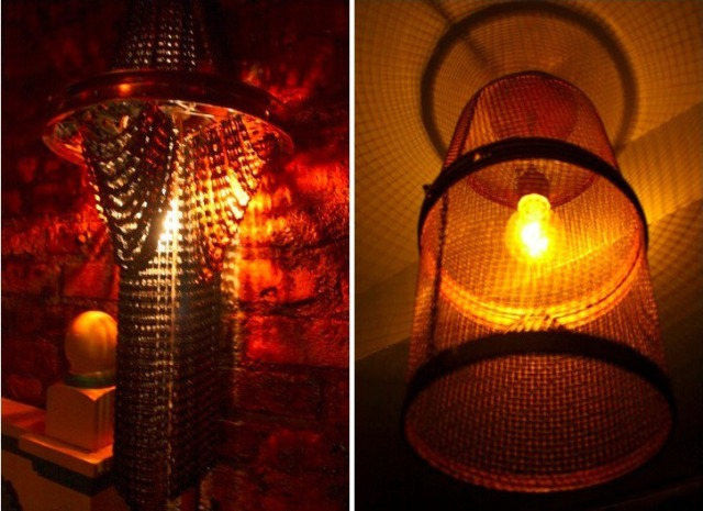 Chandeliers made from bicycle chains at ReVision Lounge: Photo via Inhabitat.com/NYC