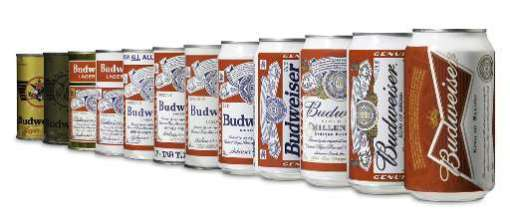 Bud's beer can evolution since 1936: image via jacksonville.com