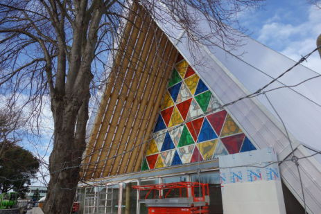 Anglican Cardboard Cathedral in Christchurch, New Zealand (Photo by Schwede66/Creative Commons via Wikimedia)