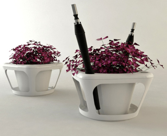 Indoor Planter With Umbrella Stand Makes Use Of Rain Water
