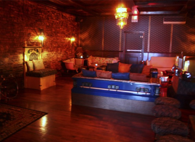 Repurposed coffins made into couches at ReVision Lounge: Photo via Inhabitat.com/NYC