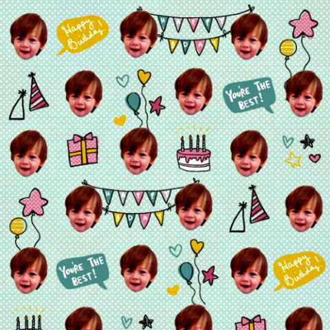 Custom Wrapping Paper With Your Child's Likness: Gift Wrap My Face image via GWMF Facebook