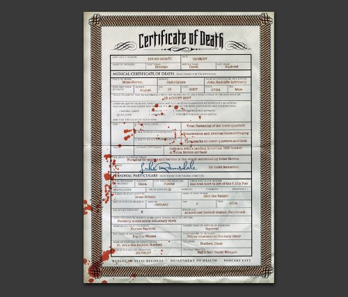 Road Kill Death Certificate