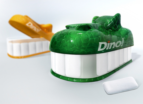 "BQB's innovative ""Dino Gum"" candy package (http://ow.ly/qERki)"