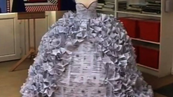 A Wedding Dress Made Of Divorce Papers (You Tube Image)