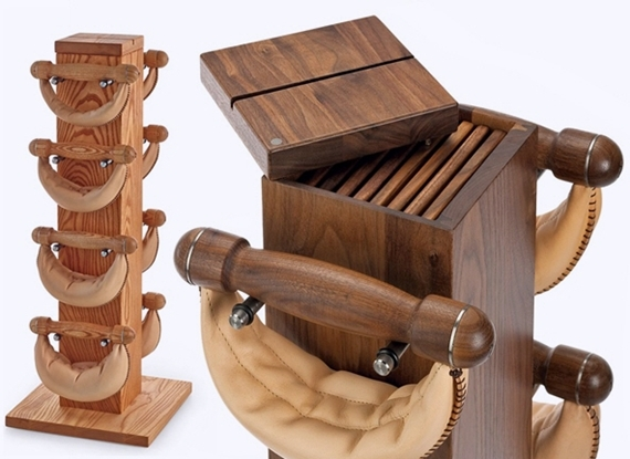 Wood and Leather Dumbbells (Image via CoolThings)