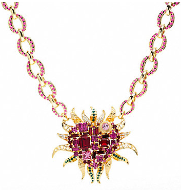 Coach Flamed Heart Necklace: Fiery heart pendant encrusted with pink and red crystals