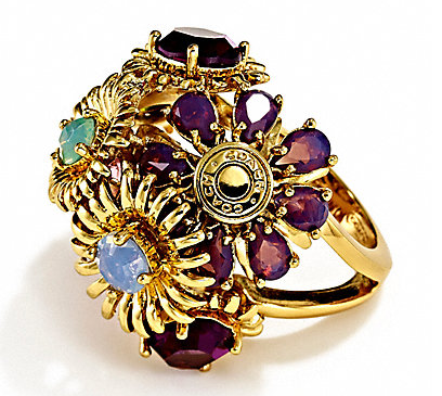 Coach Bouquet Flower Ring: Lavish arrangement of cabochon-centered Duquette flowers.