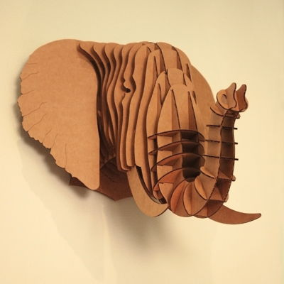 Eyan, large elephant trophy:  Cardboard Safari