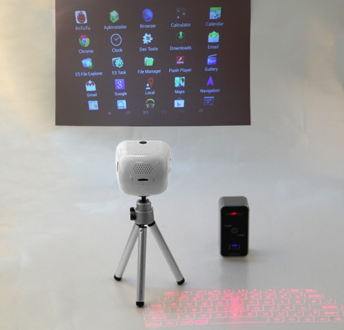 EPP-100 in action. Infrared/laser keyboard is also not included
