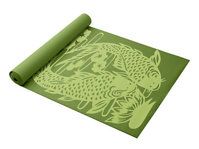 Gaiam Audio Yoga Mat - Koi fish pattern