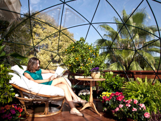 Reading Inside Garden Igloo