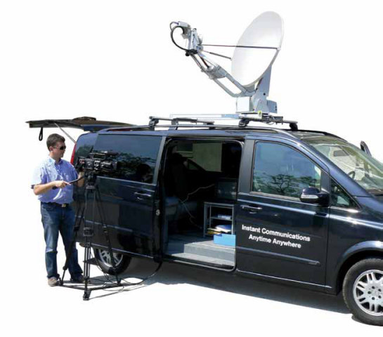 2-Way Satellite Broadband equipment is in wide use by communidation media.: ©GE-SATCOM.com