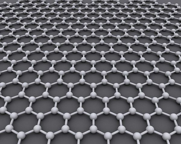 Graphene: the atomic structure of graphene -- a honeycomb arrangement of carbon atoms. Image by AlexanderAlUS.