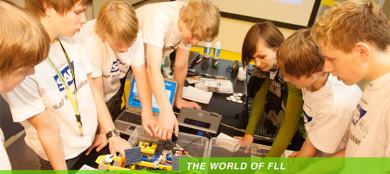 FirstLego League group deep in thougt:  FirstLego League