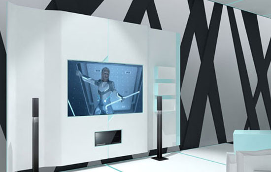 Home theatre of the Safe House: TRON Designs Corian