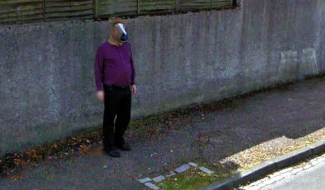 Horse Head Mask Man On Google Street View: Dobbin Horsome - Aberdeen, Scotland