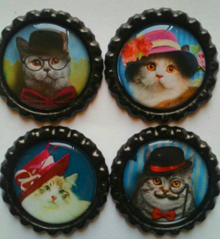 Bottle Cap Cat Magnets: image via etsy.com