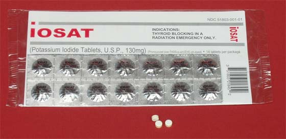 Iosat package provides full dose of potassium iodide for adults for 14 days: © Anbex,Inc