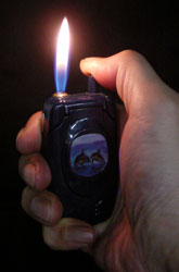 cell phone lighter flame