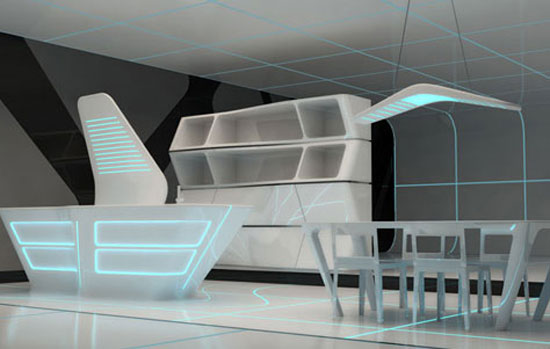 Kitchen and dining area of the Safe House: TRON Designs Corian