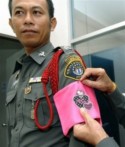 Police Officer In Thailand Receives The Hello Kitty Treatment (Image via Pinterest)