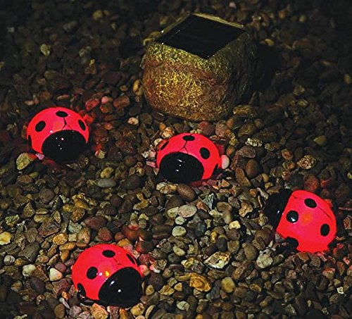 These Are A Set Of 4 Cute Red Solar Powered Ladybugs. Each Are Lit By One  Red Led Lightbulb And Are About 4 Inches Each So They Wonu0027t Light Up Your  Garden ...