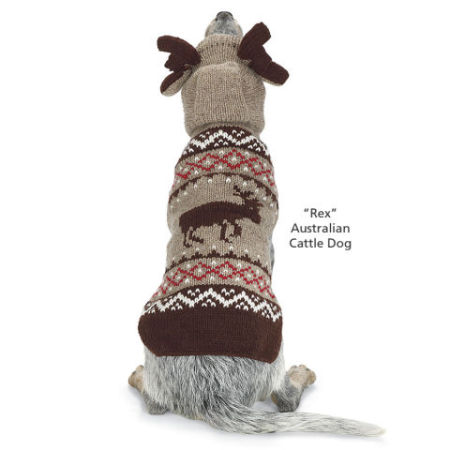 Moose Dog Sweater With Antlers: image via inthecompanyofdogs.com