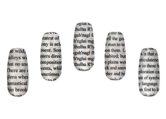 Lovecraftian Literary Nail Wraps: image via thinkgeek.com