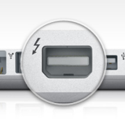 Thunderbolt port on a MacBook Pro.