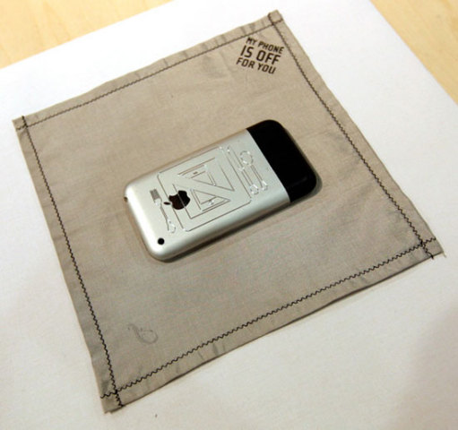 My Phone IS OFF For You Handkerchief/Napkin can stop cell phone transmission.: design by Ingrid Zweifel