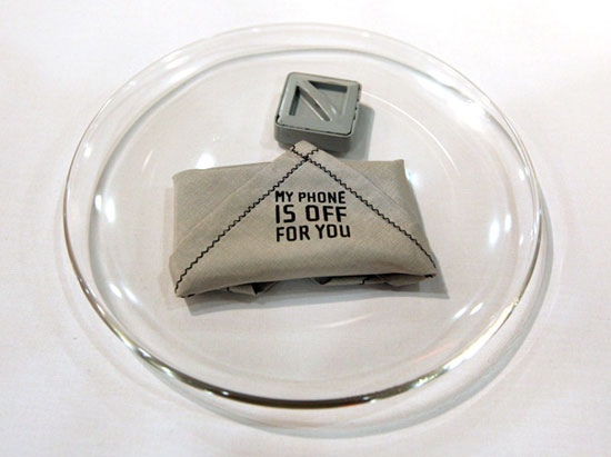 Silence the cell phone with the My Phone IS OFF For You Handkerchief/Napkin: design by Ingrid Zweifel; image viafunkyspacemondy.com