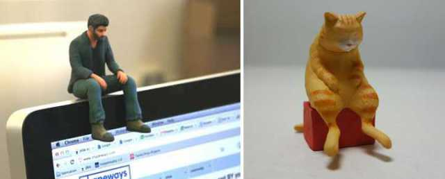 Hunchback Cat Figurines Chide Computer Users To Stop Slouching