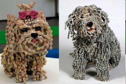 "Nirit Levav Dog Sculptures - ""Choo Choo"" and ""Lola"""