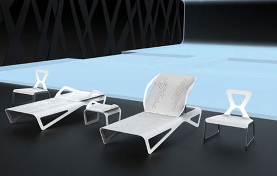 Outdoor area of the Safe House: TRON Designs Corian