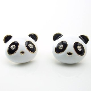 enamel panda stud earrings