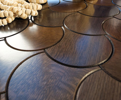 Crescent pattern from Enigma Collection of wood flooring: © Jamie Beckwith via trendir.com