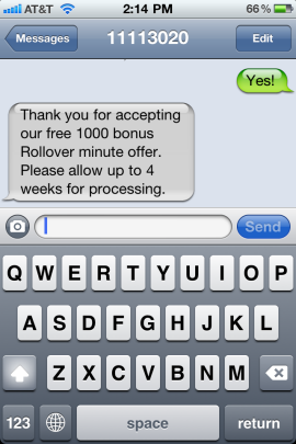 AT&amp;amp;T Free 1000 minutes