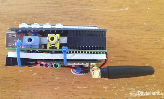 The right side, showing off the Raspberry Pi's composite video and speaker outputs