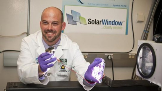 One Researcher Powers a Toy Helicoptor with a SolarWindow Prototype: Image via Inhabitat.com