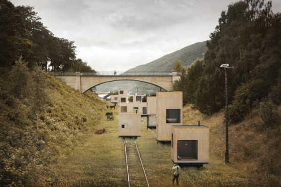 Rolling hotel cabins sheltered from the wind and severe cold: ©Jagnefält Milton via archdaily.com