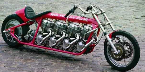 "Porsche Custom Motorcycle: Werner's 4-Engined ""Red Porsche Killer"": More Motors Make"