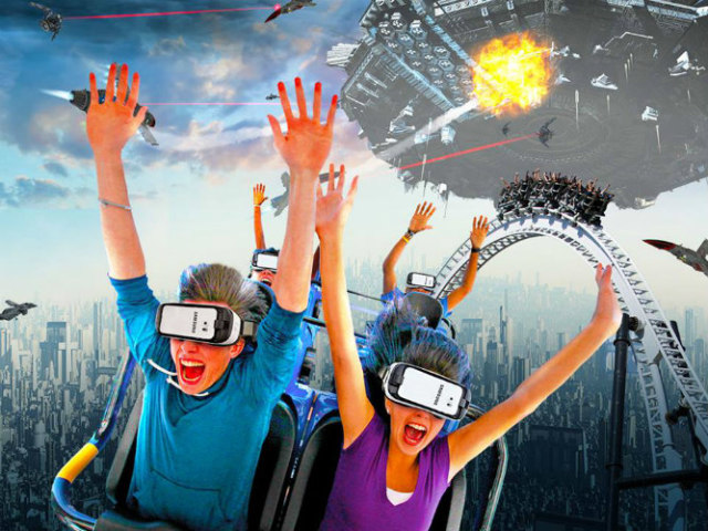 Six Flags & Samsung's Virtual Reality Roller Coaster Rides: (image via Six Flags Facebook)