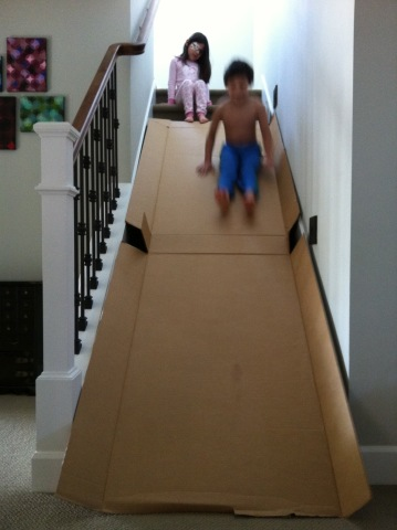 So If You Want A Slide For Your Staircase, You Will Have To Settle For  Making One Yourself. Contemplative Creatures Made Their Own DIY Homemade  Cardboard ...