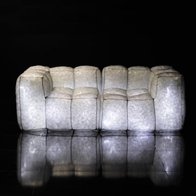 Stardust Sofa, designed by Mario Bellini, glows in the dark: image via mossonline.com