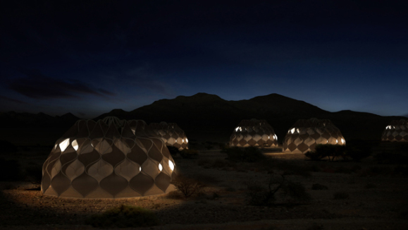 Collabsible Woven Dwelllings at Night (Image via Abeer Seikaly)
